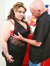 Pretty BBW Tasha Starzz parts her stocking clad thighs wide to welcome a stiff rod in her snatch